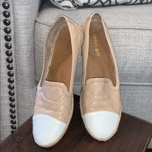 Madden Girl Pink/White Quilted Flats